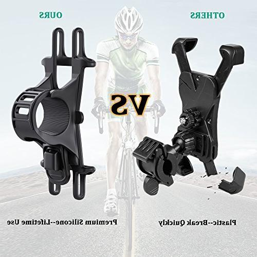 Bike Mount, Bicycle Phone Silicone Handlebar Rack iPhone Galaxy Phones, Ideal for