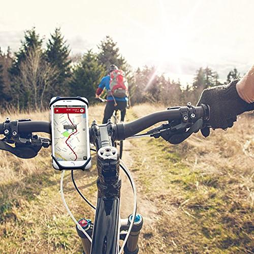 "Bike Mount, Bicycle Silicone iPhone X/8/7/6 Samsung Galaxy Plus, 4.5""-6.0"" Mountain Bikes"