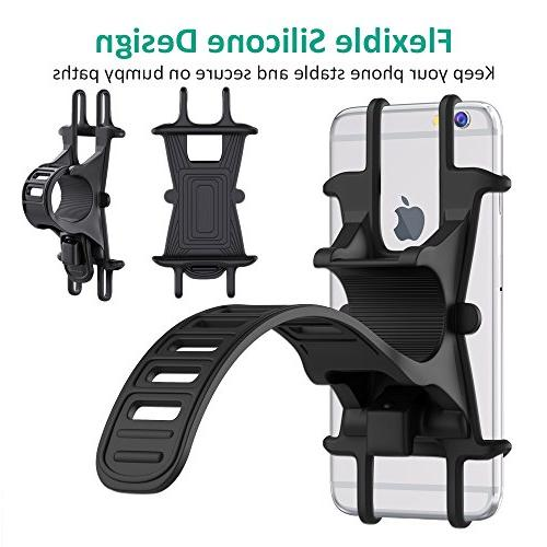 Bike Bicycle Holder, Silicone Rack for iPhone Plus, Galaxy S9/S8 Phones, Ideal Mountain Bikes