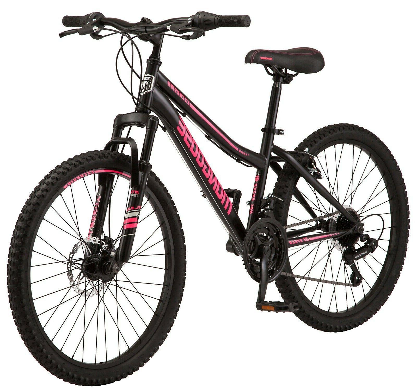 """New Mongoose Excursion Girl Mountain Bike, 24"""" Wheel - BLA"""