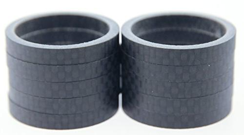 "FSA 10qty 5mm 1-1/8"" 3K Carbon Headset Spacers 50mm Total Ro"