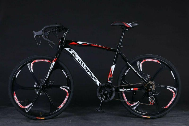 "Road Bike 21 Speed Mens Bikes 26"" Wheels Bicycle Dual Disc B"