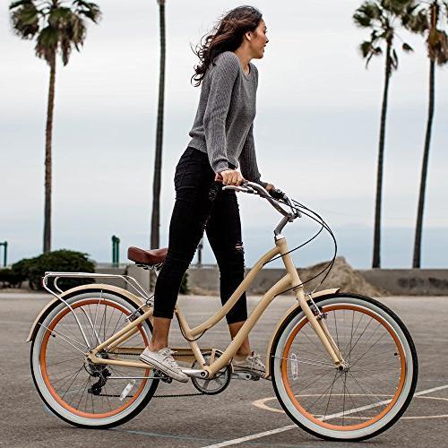 sixthreezero 7-Speed Step-Through Hybrid Bicycle, Cream w/Brown Seat/Grips, Wheels/ Frame