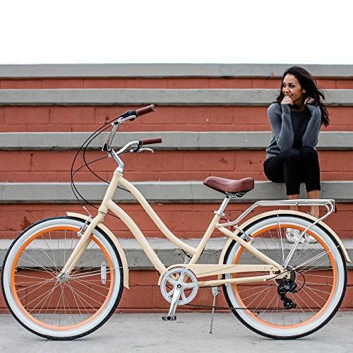 "sixthreezero Step-Through Hybrid Cream w/Brown Seat/Grips, Wheels/ 17.5"" Frame"