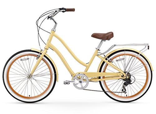 "sixthreezero EVRYjourney Step-Through Hybrid Cruiser Cream w/Brown Wheels/ 17.5"" Frame"