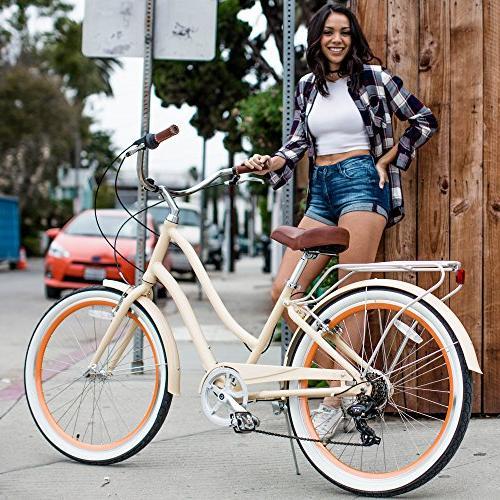 "sixthreezero Women's Step-Through Cruiser Bicycle, Cream 26"" Wheels/ 17.5"""