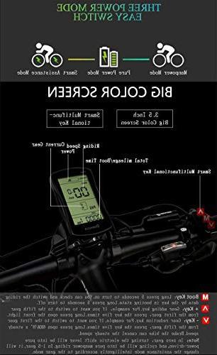 LANKELEISI Folding 27 Speed Mountain Beach E-Bike, LCD Hydraulic Disc Brake
