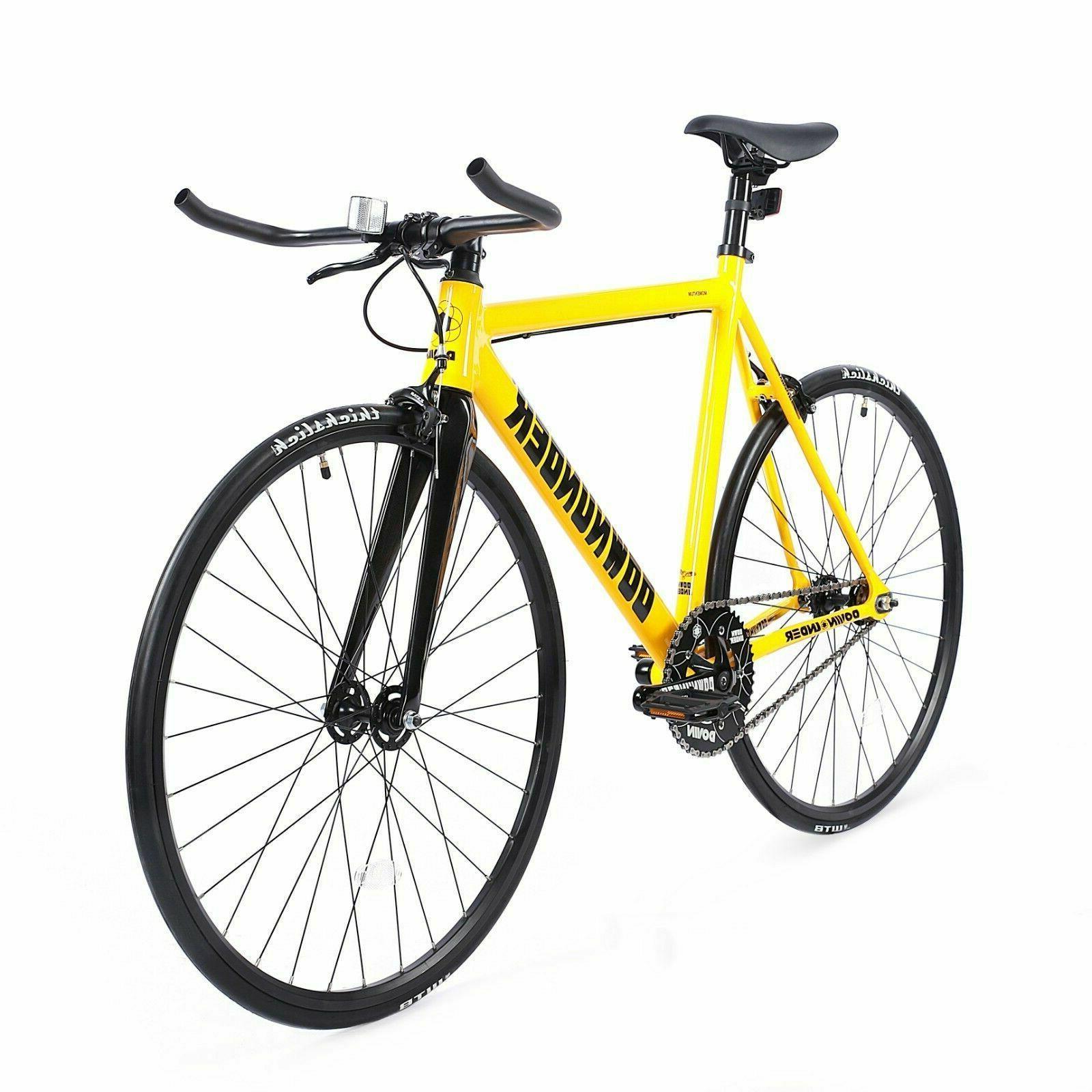 fixed gear bike 700c carbon fiber yellow