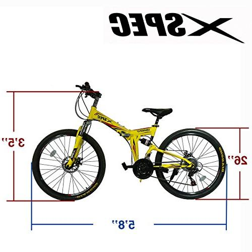 "Xspec 26"" 21 Folding Mountain Bike Trail Yellow"