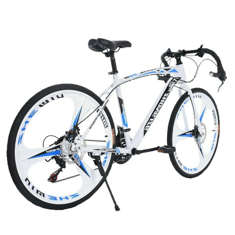 "Road Bike 21 Speed Mens Bikes 26"" Wheels Bicycle Dual Disc B"