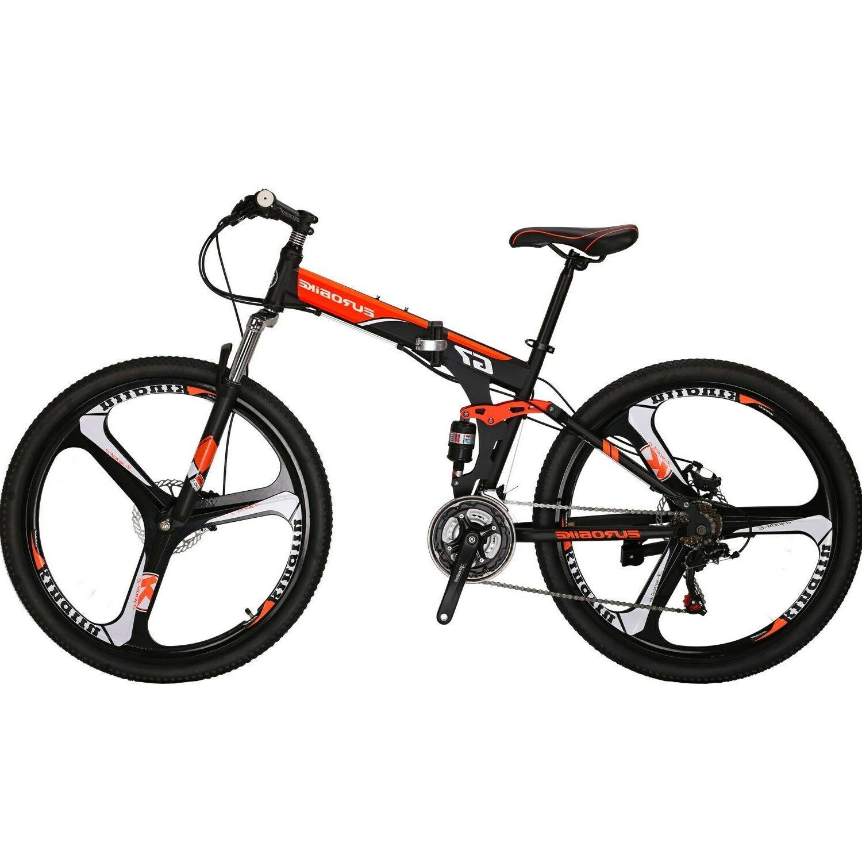 """Folding Mountain Bike 21 Speed Full Suspension Bicycle 27.5"""""""