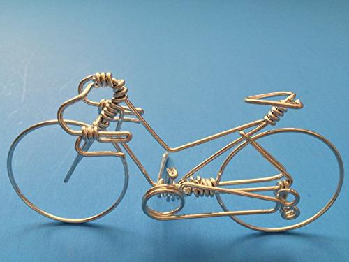 Handcrafted Road Small Unique Cyclists as ~ One Whole Wire No