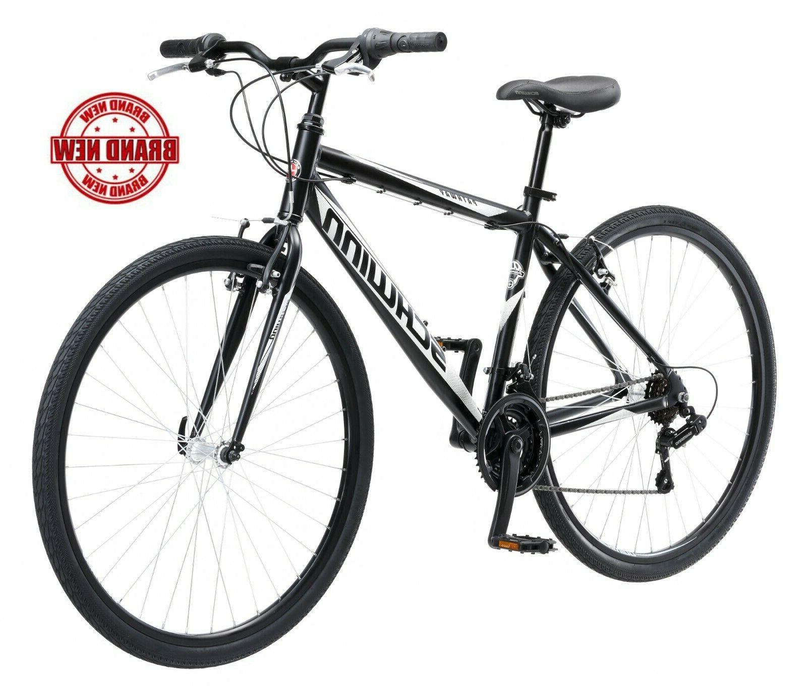 Schwinn Hybrid Bike 700C Men's Black Cruiser Alloy Frame Spo