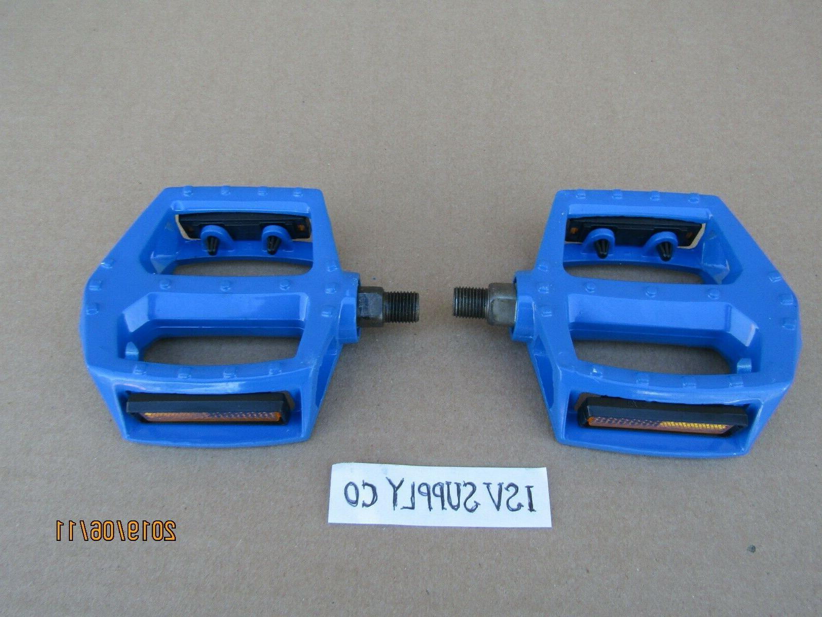 NEW BICYCLE 9/16'' BLUE ALUMINUM PEDALS FOR 3 PC CRANK BIKES