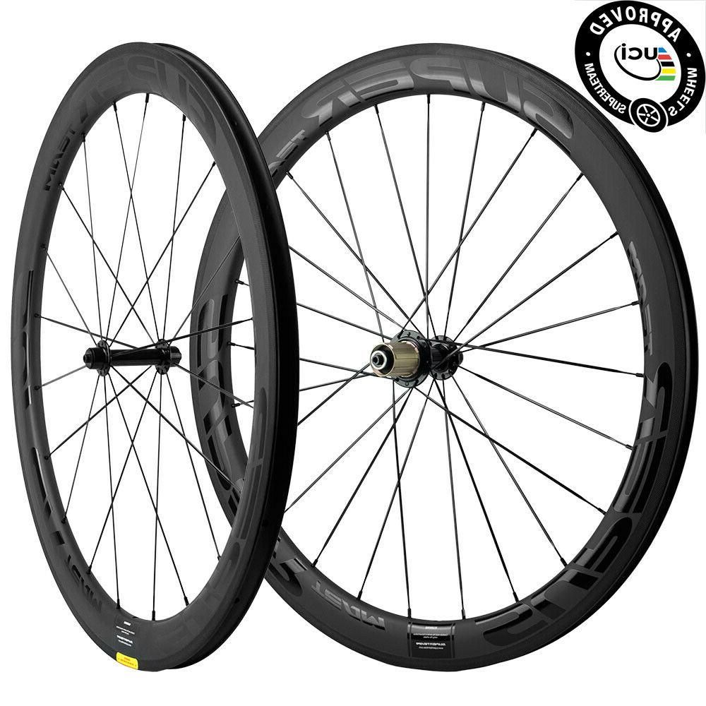 New Superteam Wheels 700C Clincher 50mm Carbon Wheelset Road Bicycle 25mm