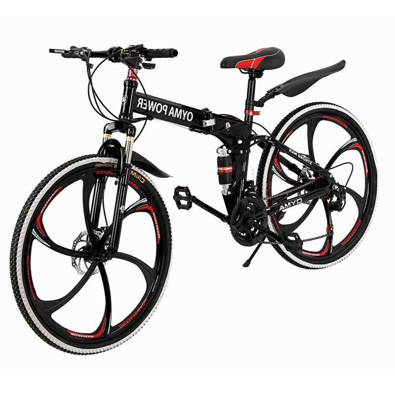 26 inch Folding Mountain Bike 21 Speed Road Bicycle Full Sus