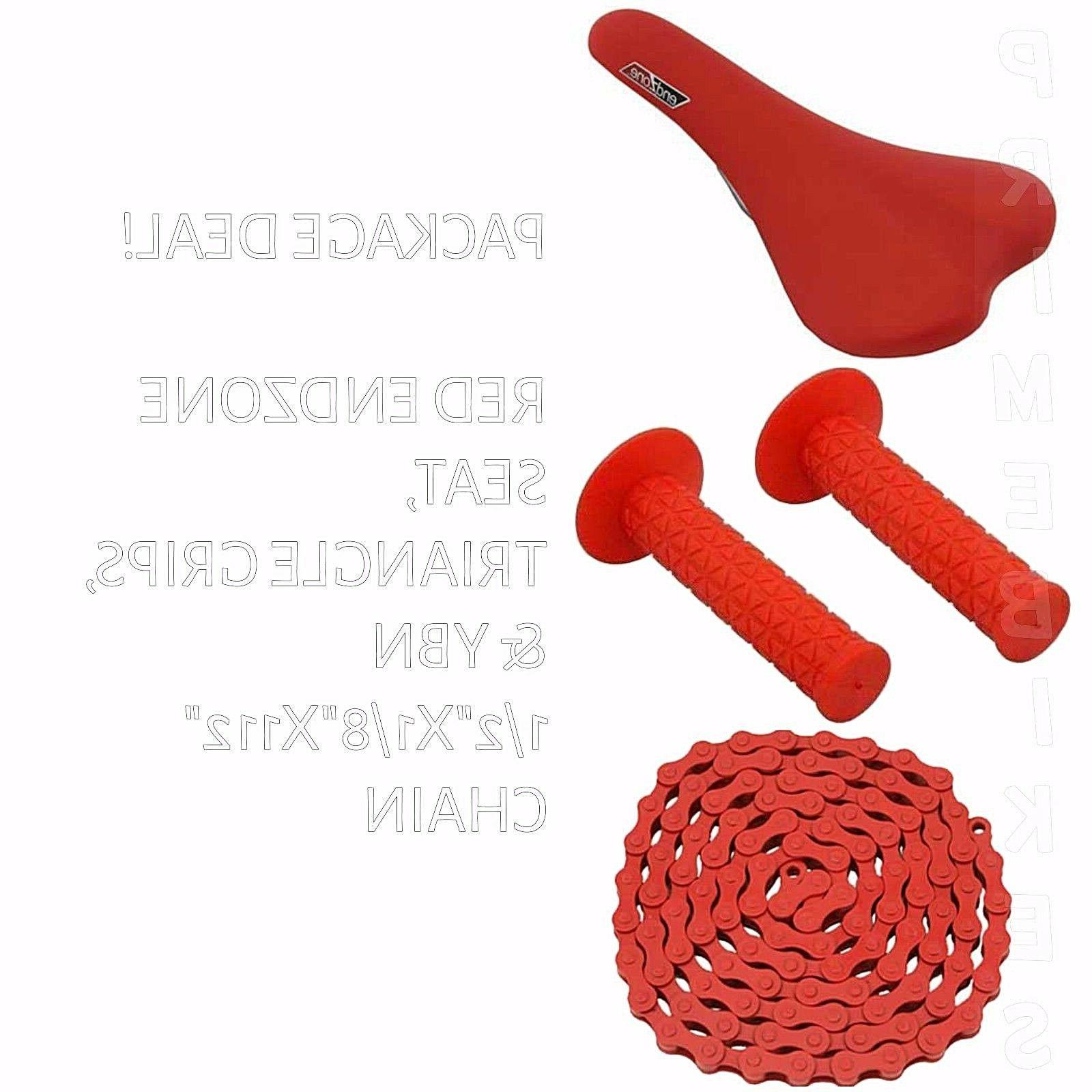 package deal bicycle seat grips chain red