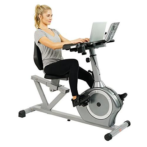Sunny Health Fitness Recumbent Desk Cardio Exercise Bike Wor
