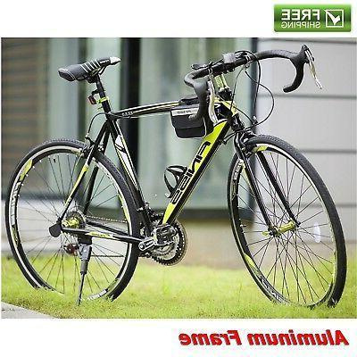 "Merax Road Bike 21"" Black Green 21-Speed Aluminum Men Bicy"