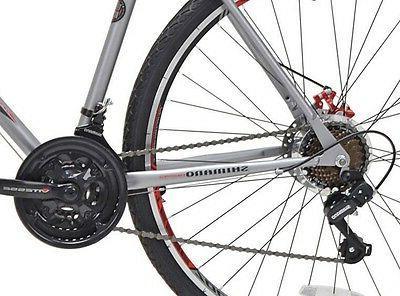 """Kent Road Silver 22.5"""" Men Bicycle Shimano Hybrid"""
