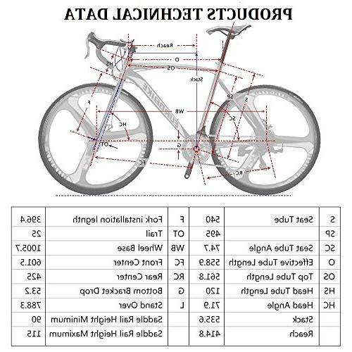 EUROBIKE 21 54 Cm Road Bike 700C 3-Spoke Dual Disc Brake Road Bicycle Black