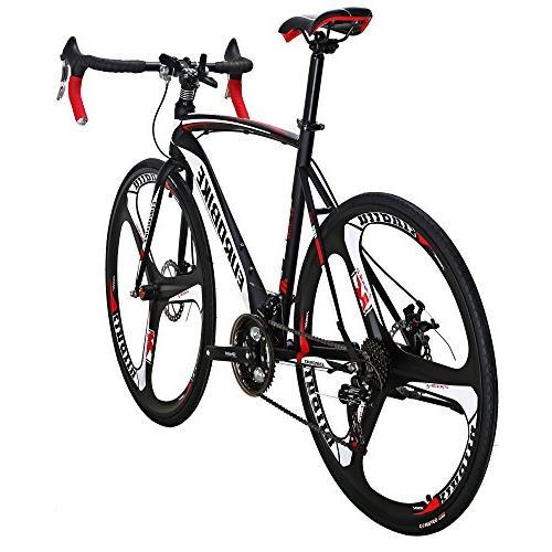 EUROBIKE 54 Cm Bike 700C Wheels Dual Disc Bicycle Black