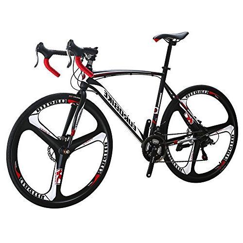 EUROBIKE XC550 Bike 700C 3-Spoke Dual Disc Road Bicycle Black