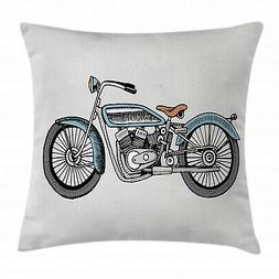 Motorcycle Throw Pillow Case Off Road Bike Race Square Cushi