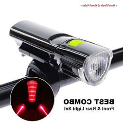 MTB Road Bike Bicycle Cycling Head Front Lights w/ 2 Laser R