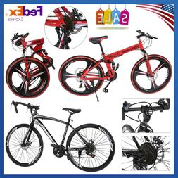 New 26 Inch Folding Mountain Road Bikes Shimano 21 Speed Dis