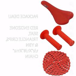 PACKAGE DEAL! BICYCLE SEAT GRIPS CHAIN RED - BIKES BMX ROAD