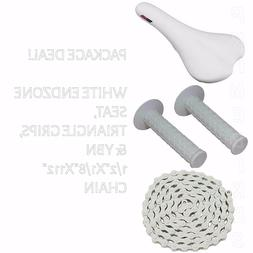 PACKAGE DEAL! BICYCLE SEAT GRIPS CHAIN WHITE - BIKES BMX ROA