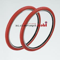 pair road bicycle solid tires 700x24c red