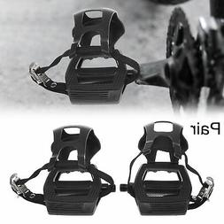 """Pair Road Bike Pedals 9/16"""" Spindle Platform with Toe Clips"""