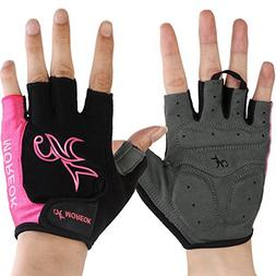 Pink Women Shockproof Bike Gloves Fingerless Biking Gloves O