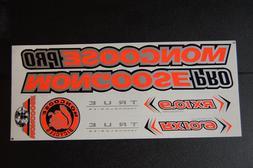 Mongoose PRO RX 10.9 Titanium Stickers Orange, Silver & Blac