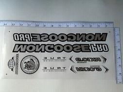 Mongoose PRO RX 10.9 Titanium Stickers  Silver, Black & Whit