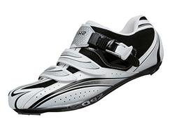 Shimano R087 Road Cycling Shoes - Wide Fit, White - Black, S