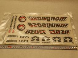 Mongoose Rebel BMX Bicycle Bike Decal set 16 Stickers Red/Bl