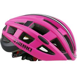 DRBIKE Road Bike Helmet, Red Bicycle Helmet with Lights for