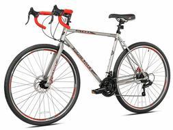 """Kent Road Bike Silver 22.5"""" Men Bicycle 21-Speed Shimano Dis"""