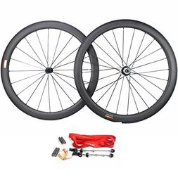 Road Bike Wheel set 50mm Clincher Carbon Fiber Matte 25mm Wi