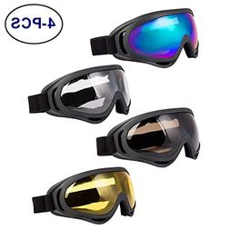 LJDJ Ski Goggles, Pack of 4 - Snowboard Adjustable UV 400 Pr