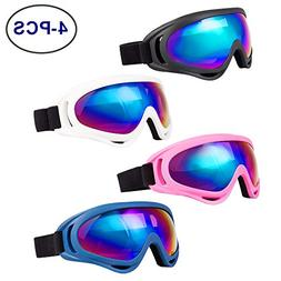 LJDJ Ski Goggles, Pack of 4 - Snowboard Adjustable UV 400 Pr