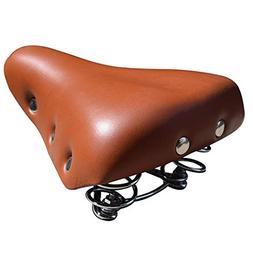 UNISTRENGH Sprung Vintage Bike Saddle, Comfy Wide Saddle Com