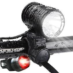 AUOPRO 1200 Lumen USB Rechargeable Bicycle Headlight, LED Bi