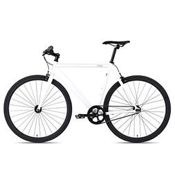 6KU Track Fixed Gear Bicycle, White/Black, 47cm