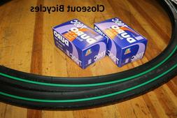TWO 700x25C DURO BICYCLE TIRES GREEN LINE & 2 TUBES ROAD FIX