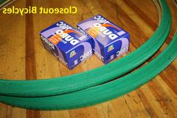 TWO 700x25C DURO BICYCLE TIRES GREEN & 2 TUBES ROAD FIXIE TR