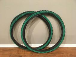 Two  Vee Rubber Tires 26x1.95 V199 Green Shoulder Mountain B